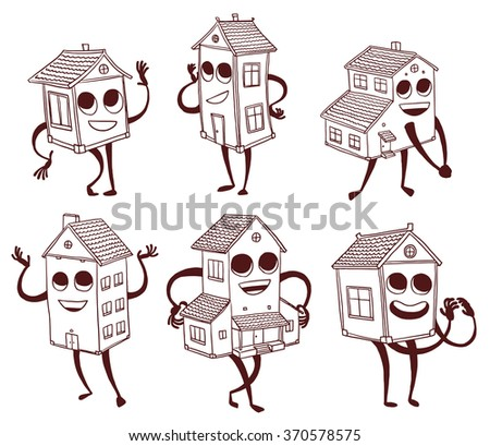 Vector cartoon image of a set of different cute houses, with the eyes, mouths, arms and legs, smiling on a white background. Line art. Vector illustration. - stock vector