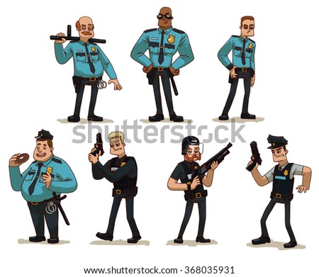 Vector cartoon image of a set of different men police officers in police uniform with various weapons in their hands in various poses on a light background. Policemen. Vector illustration.