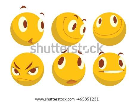 Vector cartoon image of a set of six different yellow emoticons expressing different feelings on a white background. Smiley face icons. Emoji. Vector illustration.