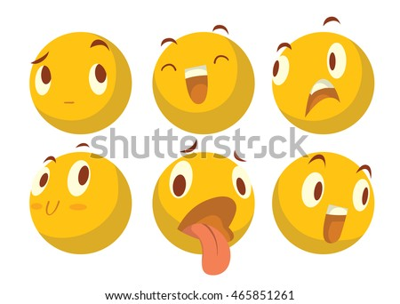 Vector cartoon image of a set of six various yellow emoticons expressing different feelings on a white background. Smiley face icons. Emoji. Vector illustration.