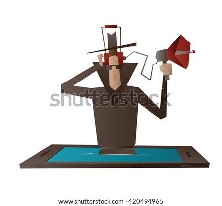 Vector cartoon image of a spy in a black coat, hat and sunglasses, with the device for wiretapping in hand coming out from a black-blue smartphone on a white background. Spying, surveillance, paranoia - stock vector