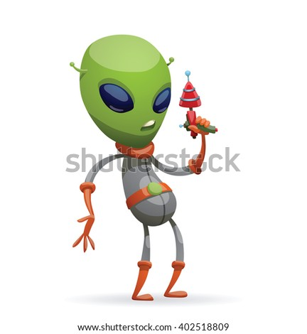 Vector cartoon image of funny green alien with big eyes and a small antennas on his head in gray-orange spacesuit, standing with a laser gun in his hand on a white background. Vector illustration. - stock vector