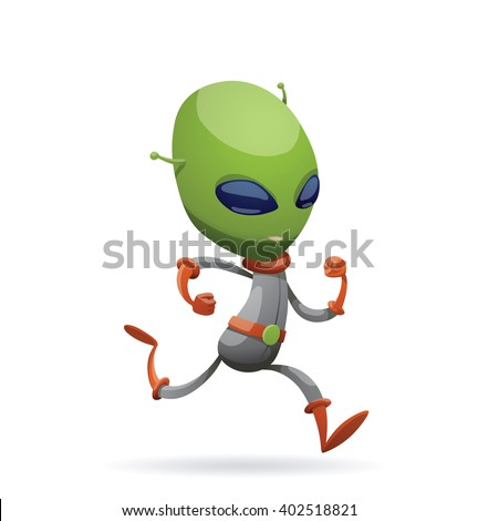 Vector cartoon image of funny green alien with big eyes and a small antennas on his his head in gray-orange spacesuit, running somewhere on a white background. Vector illustration. - stock vector