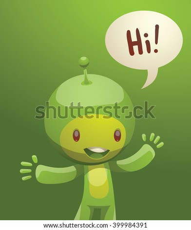 Vector cartoon image of funny little green creature. Funny little creature with a small antenna on his head. Creature with two arms and legs. Funny creature standing and smiling on a green background.
