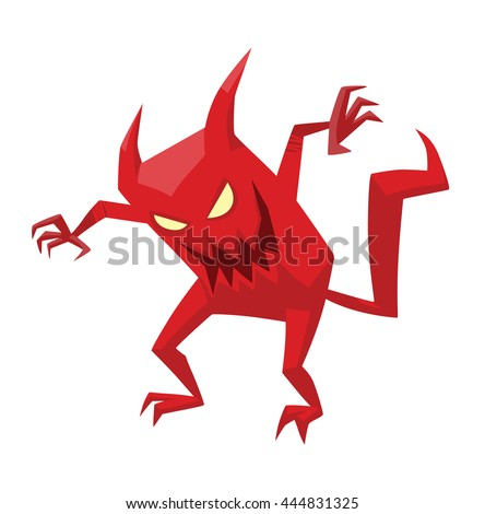 Vector cartoon image of funny red devil with horns and tail standing and frightening someone on a white background. Vector cartoon illustration of devil. - stock vector