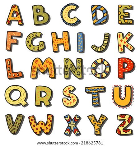 Vector cartoon isolated alphabet sticker set. Alphabet can be used for scrap booking, posters, school projects. - stock vector