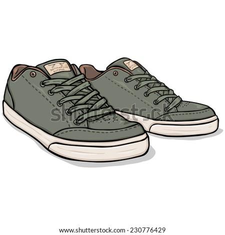 Vector Cartoon Khaki Skaters Shoes - stock vector