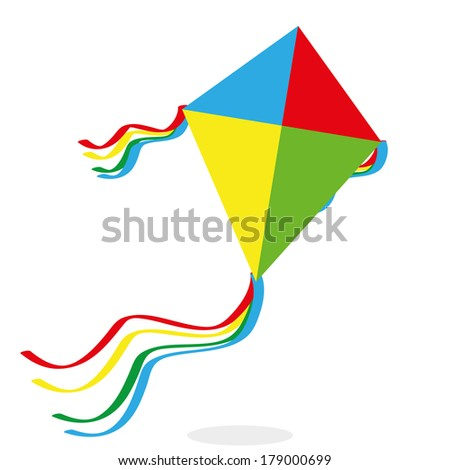 Vector Cartoon Kite Isolated On White Background