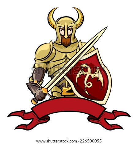 Vector cartoon knight with a horned helmet shield with a dragon  sword and a blank vintage ribbon banner below  vector illustration on white - stock vector