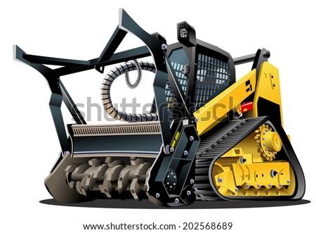 Vector Cartoon Land Clearing Mulcher - stock vector