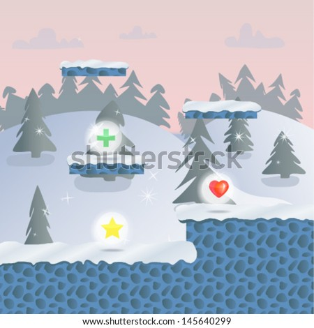 Vector cartoon landscape. Arcade game world. Video game background. Illustration of computer 2d game. Eps 10 - stock vector