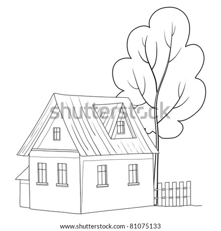 Vector cartoon, landscape: country house with a tree, monochrome contours - stock vector