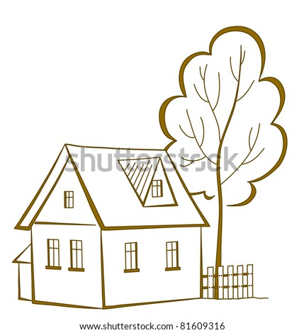 Vector cartoon, landscape: country house with a tree, monochrome symbolical pictogram - stock vector