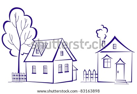 Vector cartoon, landscape: two houses with a tree, monochrome symbolical pictogram - stock vector