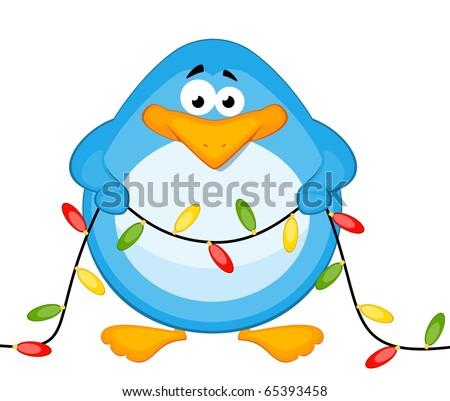 Vector cartoon little penguin with garland - stock vector