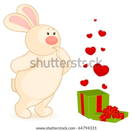 Vector cartoon little toy bunny with gift