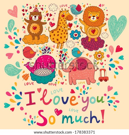 Vector cartoon love card with favorite animals.