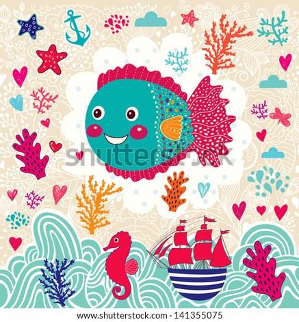 Vector cartoon marine illustration with funny fish. Underwater life. Holiday card - stock vector