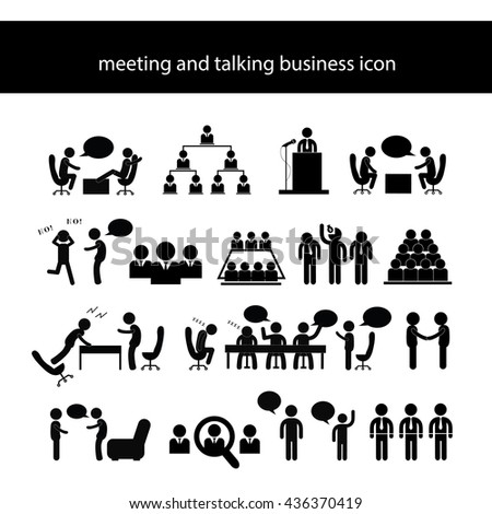 vector cartoon meeting and talking symbol