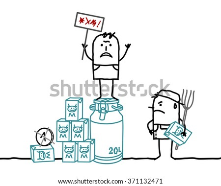 vector cartoon milk producers protesting against agriculture business - stock vector