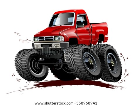 Vector Cartoon Monster Truck. EPS-10 vector format separated by groups and layers for easy edit - stock vector