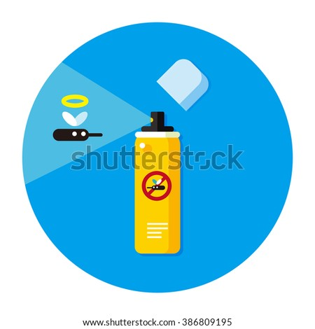 vector cartoon mosquito repellent spray can / cute stop mosquito concept illustration / flat style, sign, icon template, circle, isolated / blue on white - stock vector
