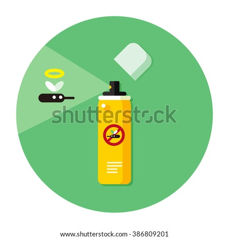 vector cartoon mosquito repellent spray can / cute stop mosquito concept illustration / flat style, sign, icon template, circle, isolated / yellow and green on white - stock vector