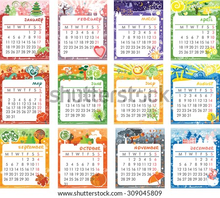 Vector cartoon multicolored calendar of 2016