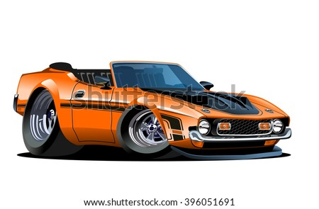 Vector Cartoon Muscle Car. EPS-10 separated by groups and layers for one-click repaint
