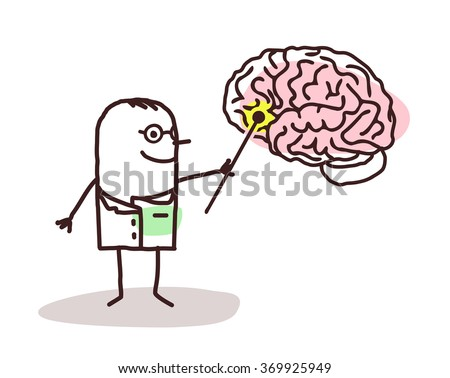 vector cartoon neurologist with brain - stock vector