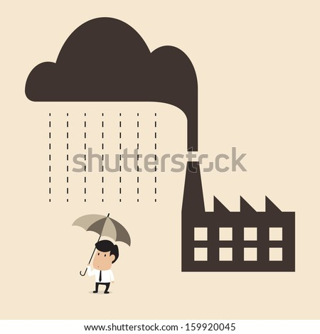 Vector cartoon of Acid rain cause from industry pollution falling to people - stock vector