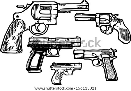 Vector cartoon of an assortment of small armed pistol and handguns, isolated against white.  - stock vector