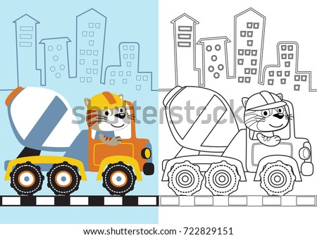 Vector Cartoon Of Animal On Mixer Truck Coloring Page Or Book