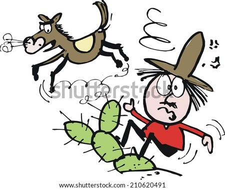 Vector cartoon of bewildered cowboy being thrown off horse into cactus plant
