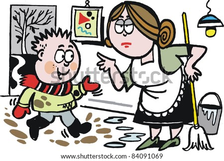 Vector cartoon of boy with muddy shoes in kitchen.