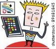 Vector cartoon of boy with new tablet computer - stock vector