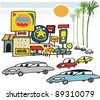 Vector cartoon of buildings, signs and cars in California. - stock vector