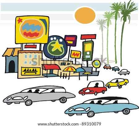 Vector cartoon of buildings, signs and cars in California.