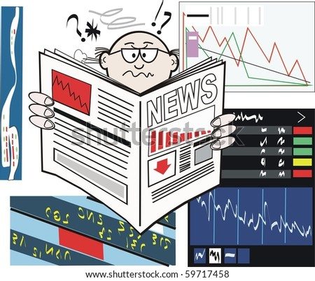 Vector cartoon of business executive reading newspaper with stock market falling. - stock vector