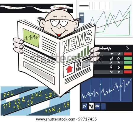 Vector cartoon of business man reading newspaper with stock market rising. - stock vector