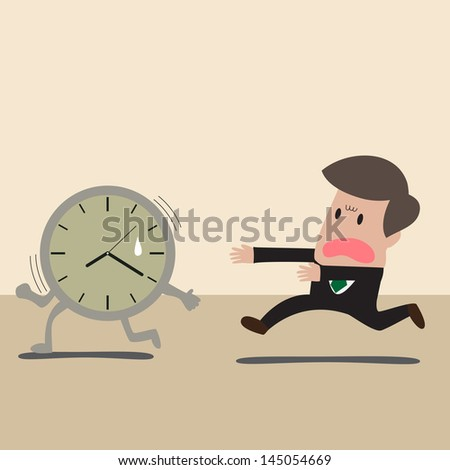 Vector cartoon of Businessman chasing a time - stock vector
