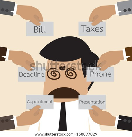 Vector cartoon of Businessman get confuse with many think to do