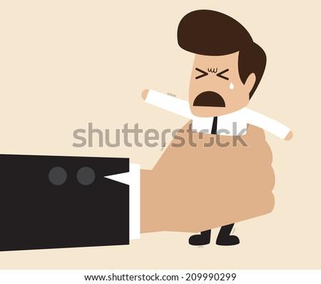 Vector cartoon of Businessman  in a big hand - stock vector