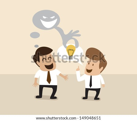 Vector cartoon of Businessman is stealing idea from another man - stock vector