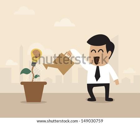 Vector cartoon of Businessman watering a light bulb idea plant - stock vector