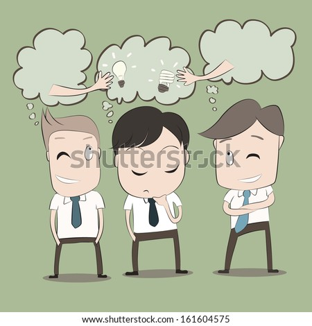 Vector cartoon of Businessmen will thinking to steal idea from another man. - stock vector