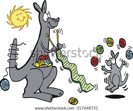 Vector cartoon of  busy kangaroo knitting scarf with wool balls in pouch.  - stock vector