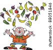 Vector cartoon of clown juggling fruit and vegetables. - stock vector