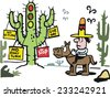 Vector cartoon of cowboy on horse with cactus traffic signs in the desert.   - stock photo