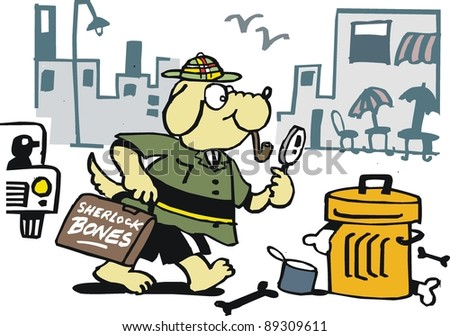 Vector cartoon of detective dog searching for bones.
